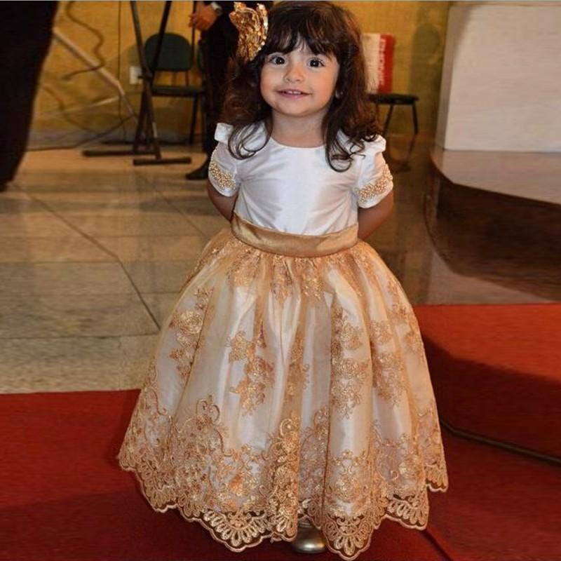 Cheap Pageant Dresses For Little Girls With Short Sleeves Gold Lace Applique Beads Floor Length Wedding Party Flower Girl Dress 2016