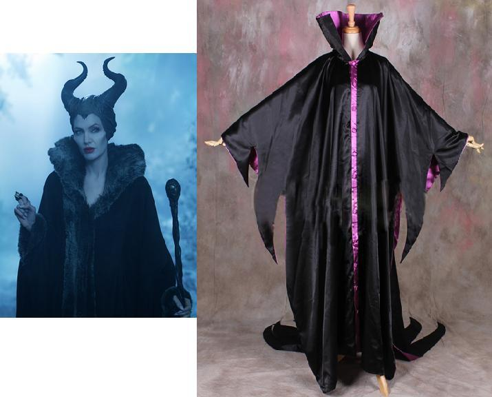 Wholesale Dis Maleficent Movie Angelina Jolie Withch Womens Cosplay Black Dress Cloak Costume Full Set Hat Costom Made Any Size Costume Party Theme