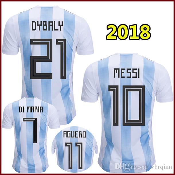 2018 Argentina Soccer Jerseys MESSI 2018 World Cup Argentina National  Football Shirt DYBALA Camiseta AGUERO DI MARIA PASTORE ICARDI Maillot  Argentina Jersey ... 11099b30f
