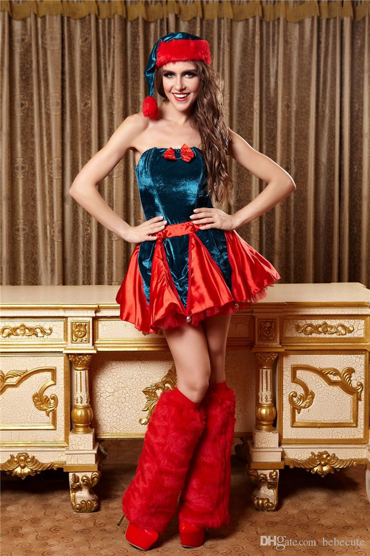 2018 Newest Fashion Christmas Costume Red Women Performance Costume With Bow And Strap Girl ...