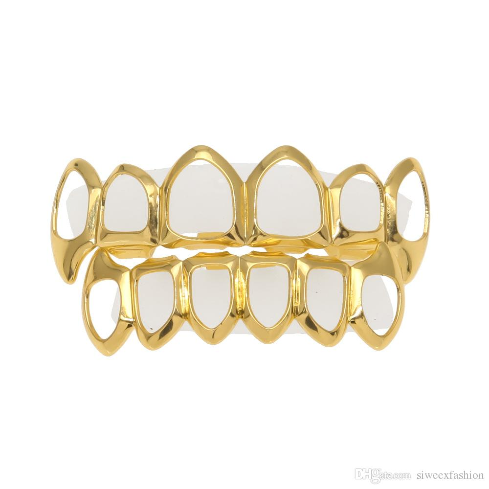 New Custom Fit 18K Gold Plated Vampire Four Open Face Gold Grillz Set For Christmas gift