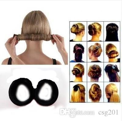 fashion diy black hairagami twist bun maker ponytail holder donut