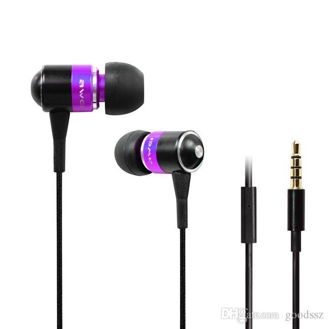 AWEI Q3I ES-Q3I Super Clear Bass Metal наушники-наушники в ухе на наушники с микрофоном шума изоляция ручной работы для iPhone Samsung Все мобильные телефоны MP3