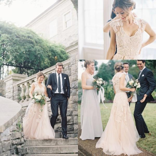 Hot Primavera Vestidos De Casamento V neck Appliques Sheer Lace Ilusão Jardim Do Casamento Vestidos de Noiva Sem Mangas Uma linha de Tule Vestido de Noiva de Tecido
