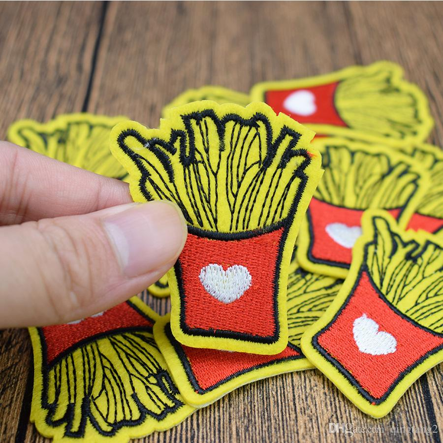 Love Chips Embroidery Patches for Clothing Bags DIY Iron on Transfer Applique Patch for Garment Sew on Embroidery Badge