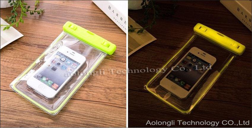 2016 iPhone 5 5S 6 plus S6 가장자리를위한 보편적 인 빛난 방수 주머니 케이스 명확한 물 증거 가방 수중 건조한 덮개 Note4