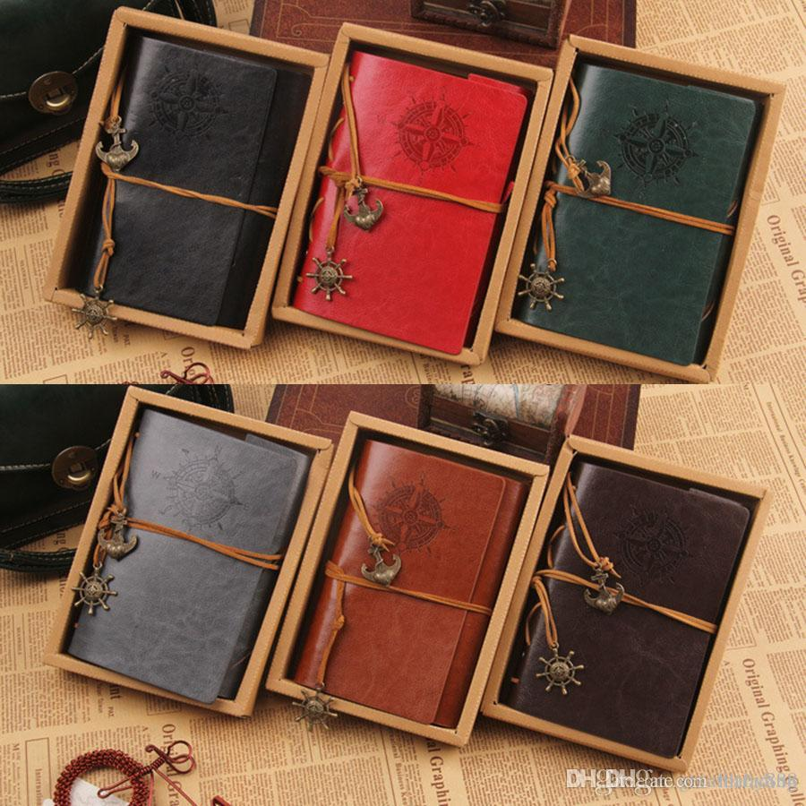 5101e00b2b49 18.5*13cm New Vintage PU Leather Travel Journal Notebook Anchor Rudder  Decoration Notebook retro diary book notepad C3284