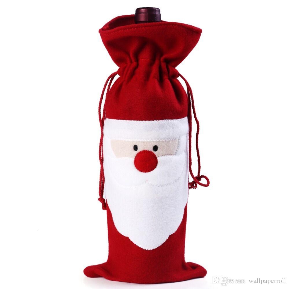 Red Wine Bottle Cover Bags Christmas Dinner Table Decoration Home Party Decors Santa Claus Christmas Supplier