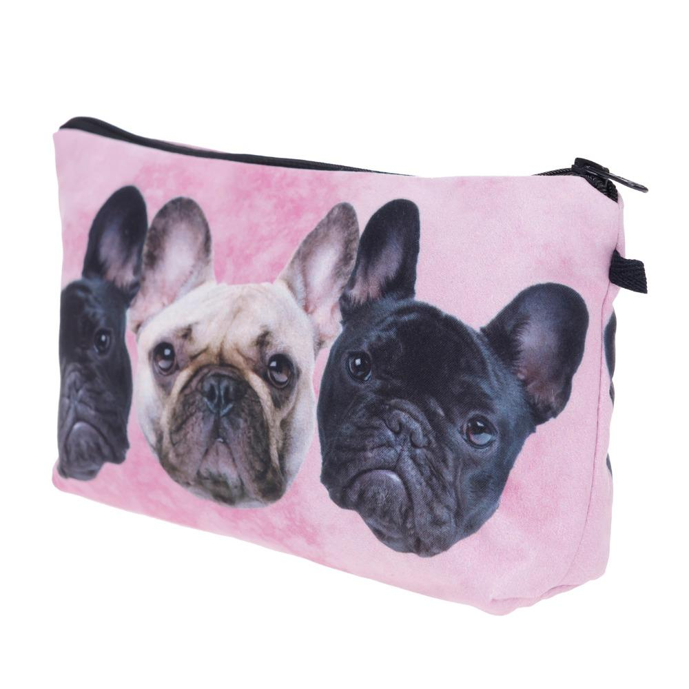 Bulldog trio pink 3D Printing makeup bags women who cares cosmetic bag trousse maquillage femme neceser make up bag pencil case