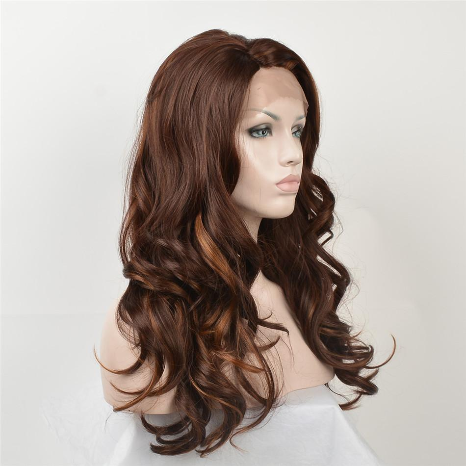 Großhandel Foafrican American Mode Mode Perücken Lace Front Perücken Dunkelbraun Big Wave Frisur Lange Lockige Haare Lace Front Perücken Free Fracht