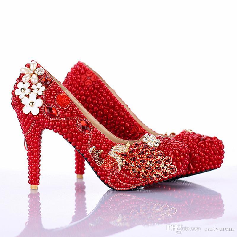 Rote Perle Brautschuhe Neue Design Phoneix Mädchen Hochzeit Schuhe 4 Zoll High Heel Jubiläum Party Pumpt Geburtstagsfeier Schuhe