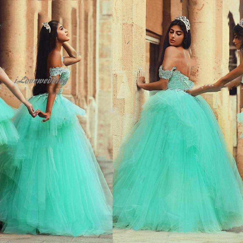 mint quinceanera dresses off the shoulder open backs lace