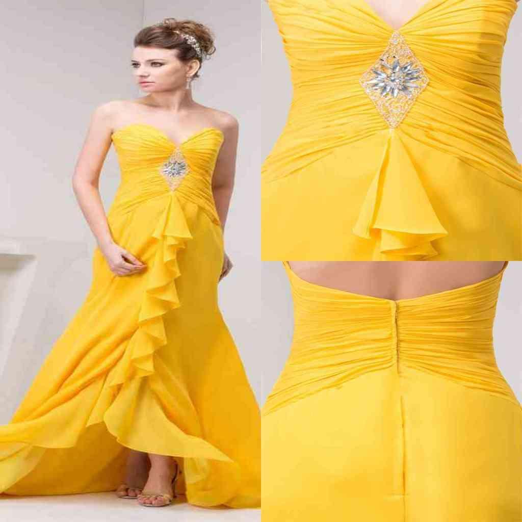 Wedding Guest Prom Dresses Yellow Chiffon Pleats Crystal