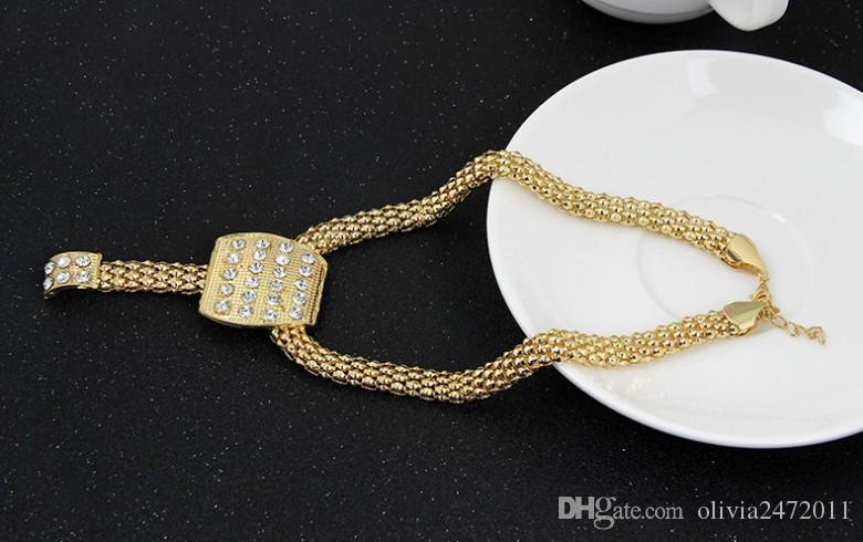 Moda Takı Setleri 18 K Altın Tıknaz Zincir Bildirimi Boncuk Önlüğü Yaka Kolye Rhinestone Küpe Yüzük Bilezik Kadınlar Için 4 adet Takı Seti
