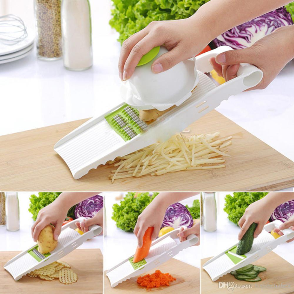 5 in 1 Multi-function Plastic Vegetable Fruit Slicers Cutter Adjustable Stainless Steel Blades ABS Peeler Grater Slicer