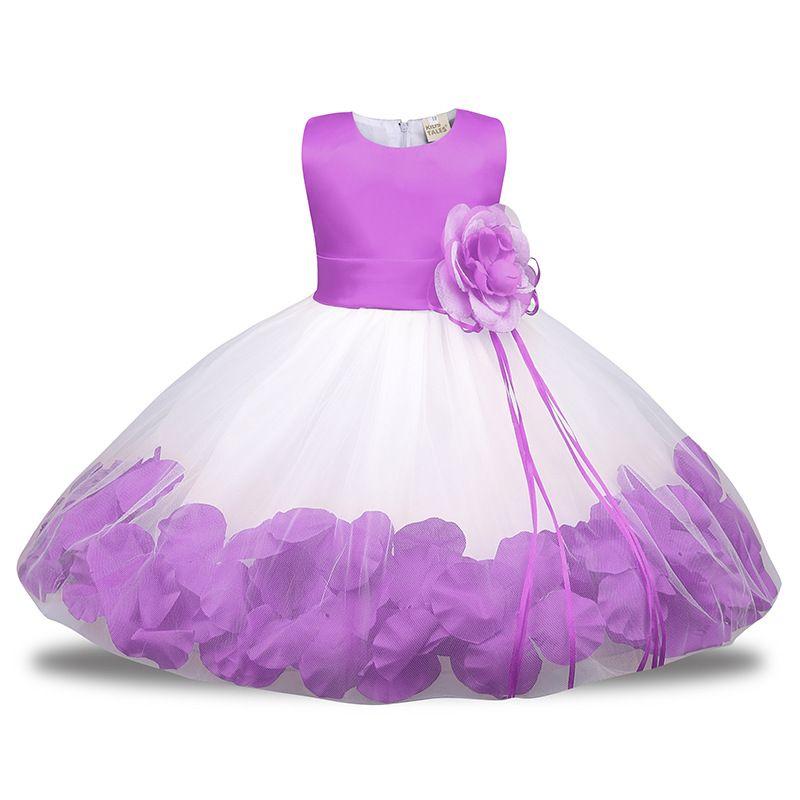ebc4a40bb6913 Acheter No.4 Bébé Robe De Fleur Pour La Fête De Mariage Sans Manches Robes  De Pétale Pour 1 Année Bébé Garçon Infantile Fille D'anniversaire Vêtements  ...