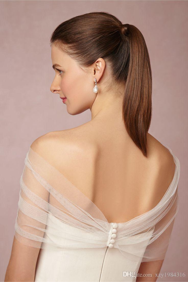 Geraffte Schulterfrei Sexy Braut Boleros Plissee Vier Tasten Gehäuse Hochzeit Wrap Tüll mit Spitze Applikationen Günstige Charming Wraps