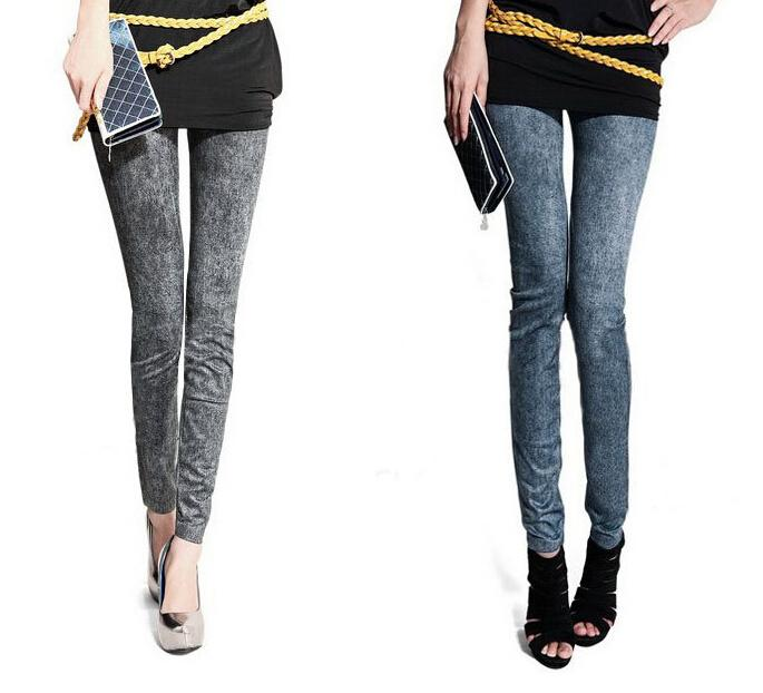 2016 Women Spring/Autumn Leggings Outerwear Large Size Slim Nine Feet Snow Pants Stretch Faux Denim Leggings Woman Tights Leggins Jeans