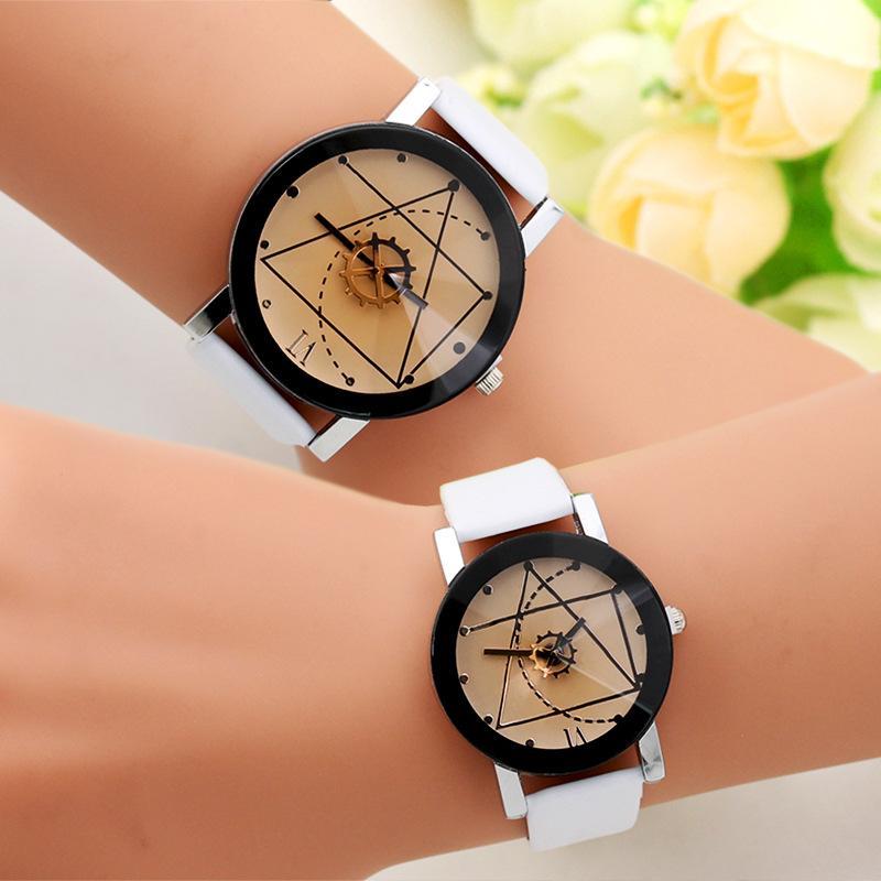 Mode Genf Uhr Kompass Rad Gang Armbanduhr Lederband Mode Uhr Männer Frauen Paar Sport Quarzuhr