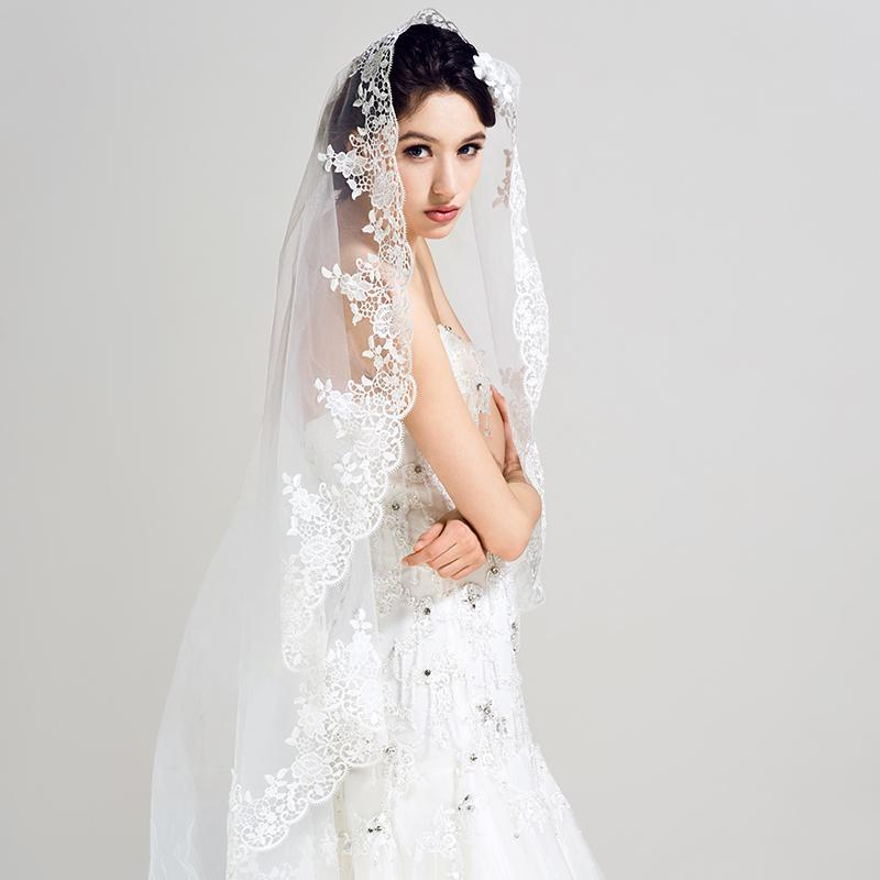 Hot New Luxury Bridal Veil Single Layer Lace Embroidery Decoration Is Simple And Easy Wedding Accessories Veils