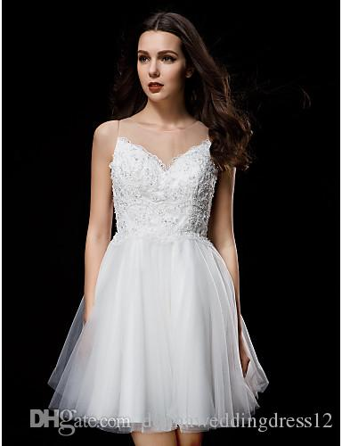 2016 New Hot Fashion Elegant Ball Gown Ivory Short/Mini Jewel Appliques Buttons Back Tulle Wedding Dresses 145