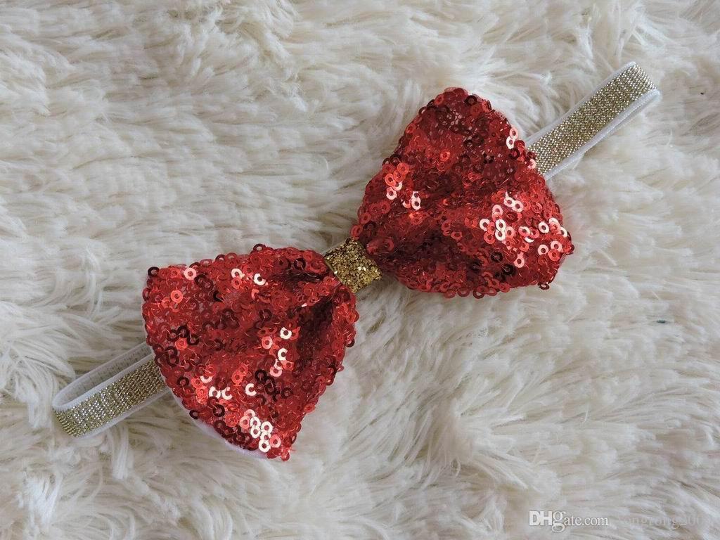 New Girl Cerchietti Paillettes Fiocco Accessori di moda dei capelli dei bambini fotografia puntelli regali neonati 1545