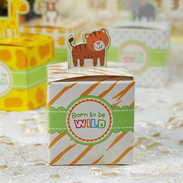 Girafe Candy Box Cute Animal Cadeaux Boîtes Baby Douche Anniversaire Faveurs de mariage / Monkey / Tiger / Elephant