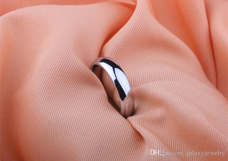 YHAMNI Geld Verlieren Förderung Echtes Reines Weißes Gold Ringe Für Frauen und Männer Mit 18 KGP Stempel 5mm Top Qualität Gold Farbe Ring Schmuck BR050