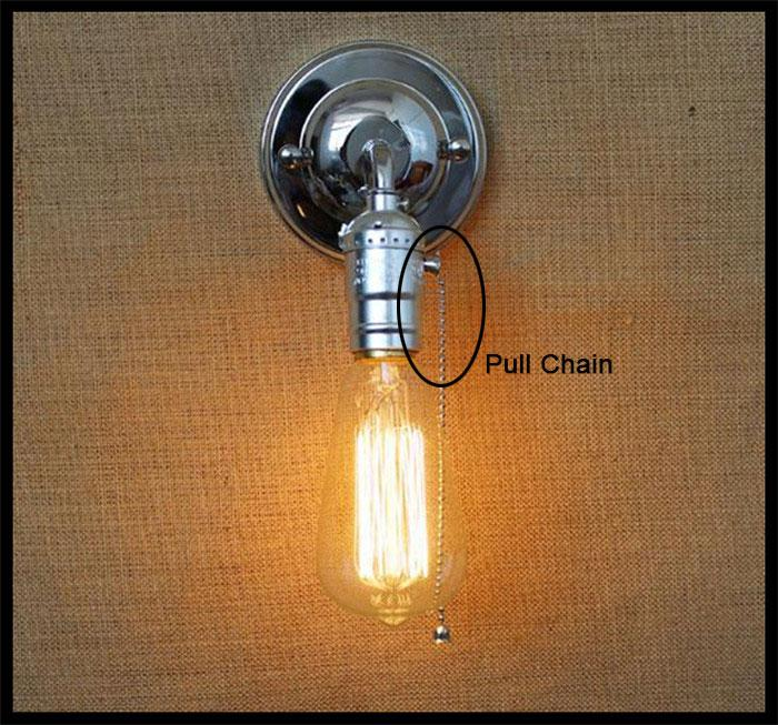 120v 230v pull chain switch scone wall lights e27 chrome plate american retro vintage iron wall lamp 90v 240v antique lamp industrial from