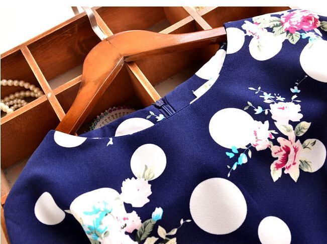 2016 Printemps Automne Nouvelle Mode Floral Dot Imprimer Mousseline De Soie Blouse Chemises Chemises Casual Élégant Vêtements Pour Femmes Plus La Taille 4XL Tops Blouses pour Femmes