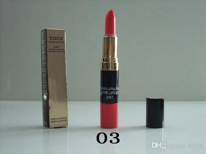 Menor preço Promoção marca mais recente maquiagem Lipstick + Lip Gloss 2 in1 batom líquido lipsticklustre epacket frete grátis