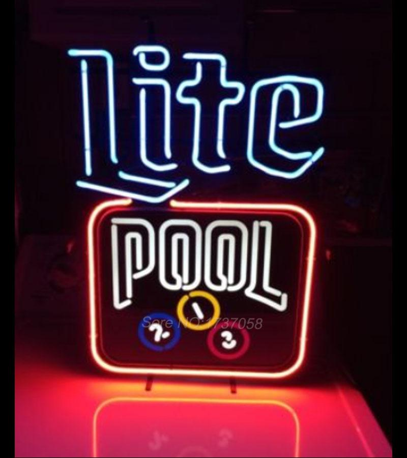 Miller Lite Beer Pool Table Heavy Neon Sign Nikee Rochee Neon - Neon pool table