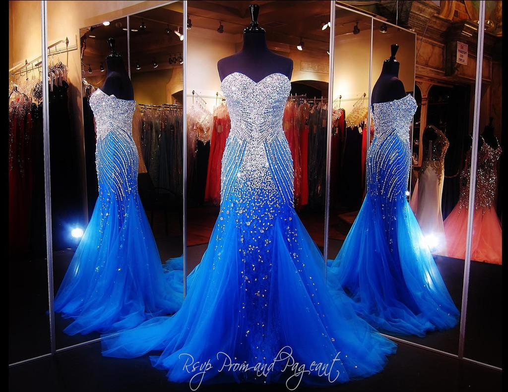 2015 Royal Blue Mermaid Prom Dress Luxury Sweetheart Sparkly Crystal Beading Sweep Train Tulle Evening Dresses Women Formal Pageant Gowns