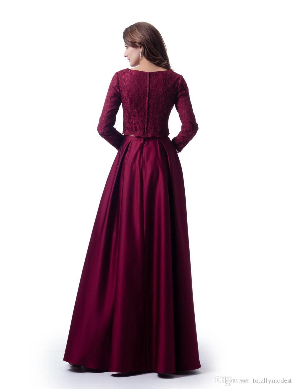 Dark Red Two Pieces Modest Bridesmaid Dresses With Long Sleeves Lace Top Satin Skirt With Pockets Wedding Party Dresses New