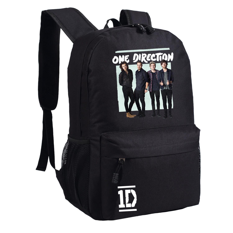 2016 one direction backpack 1d bag for school girls boys black