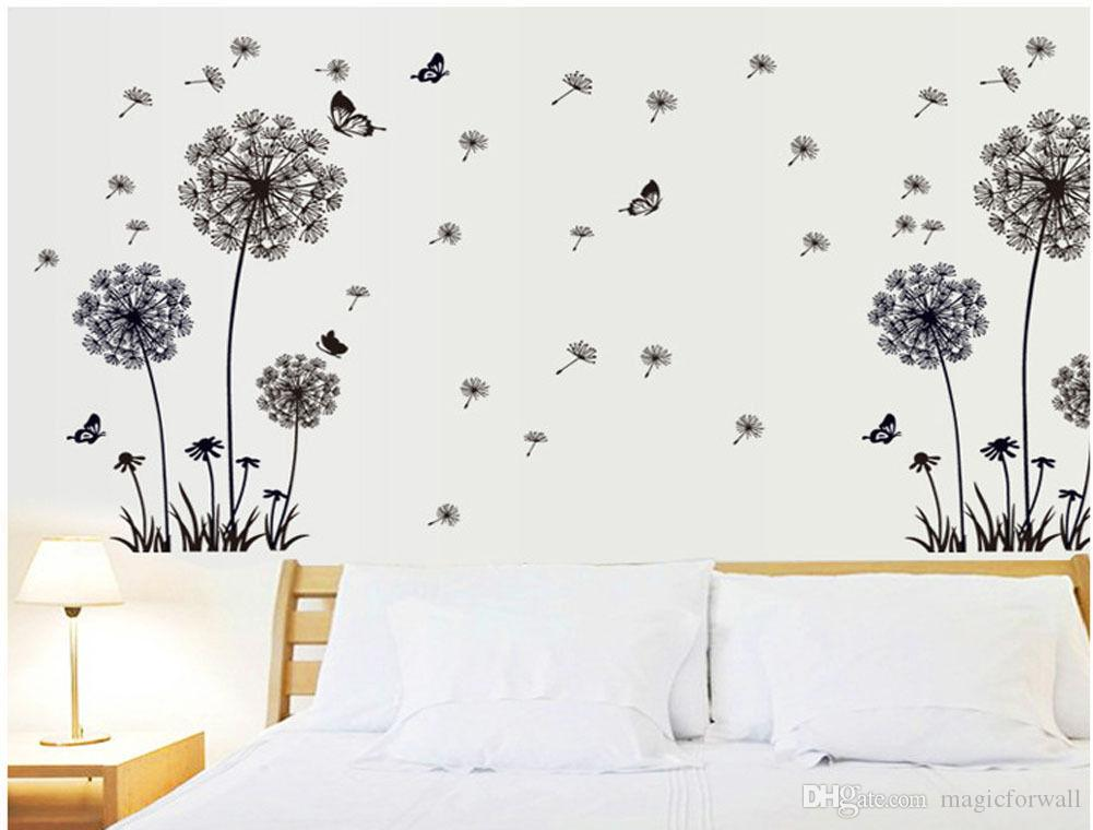 Removable Black Butterfly Dandelion Flower Wall Art Decor Sticker Window Bedroom Living Room Home Decoration Mural Poster PVC Wall Sticker