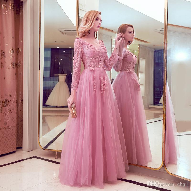 2020 Yeni Tasarım Abiye Sweet Sayın Pembe Dantel Nakış V yaka Uzun kollu Abiye Gelin Ziyafet Şık Parti Kıyafeti