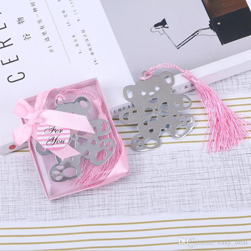 Rose Bleu Ours Signet Pour Anniversaire De Mariée Baptême De Mariage fille douche faveur faveur douche de bébé souvenirs F20172632