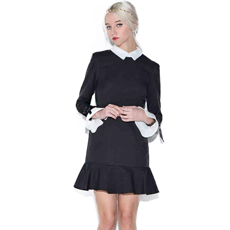 Wholesale Black Autumn Winter Dress Women Long Sleeve Midi Lace ... fc837abcd7a7
