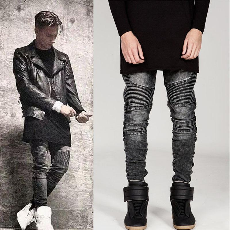 moto pants mens. fashion designer mens skinny biker jeans joggers pleated hip hop swag moto black grey blue denim pants for man ay724 from china men\u0027s seller