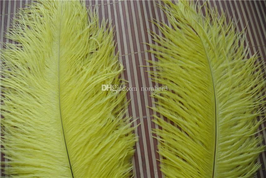 Venta al por mayor 100 unids 8-10 pulgadas amarillo pluma de avestruz para la boda pieza central de mesa decoraction decoración del partido de La Boda