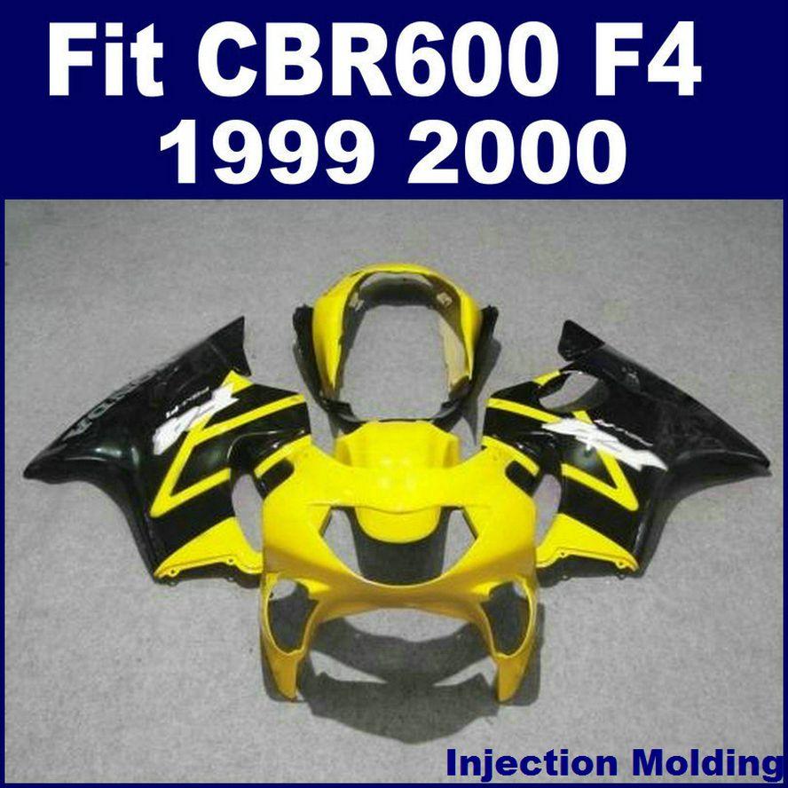 HONDA yüksek dereceli perdahlar için enjeksiyon kalıplama CBR 600 F4 1999 2000 sarı siyah 99 00 cbr 600 f4 özel kaporta VF3D