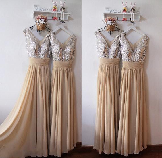 New Arrival Sexy Cekin Silver Druhna Dress V Neck Paski Bling Długość podłogi Długie Szyfonowe Druhna Dresses Linia Bez rękawów