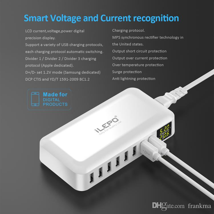 Smart Travelling 8A USB Charger LCD Display 8 Power Ports Hub High Speed Multiple Adapter Powerbank Wireless for Android Phone Loptop S8