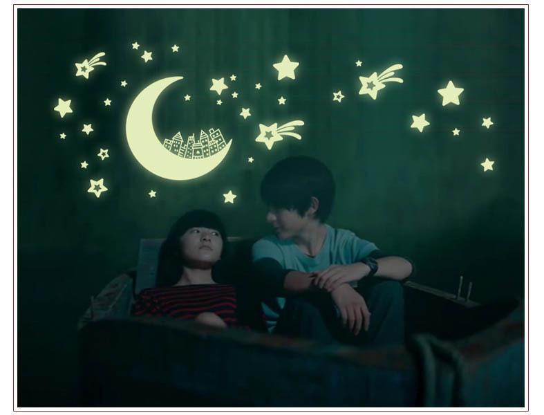 New Arrival Luminous Moon And Stars WallDecor Glow in the Dark ...