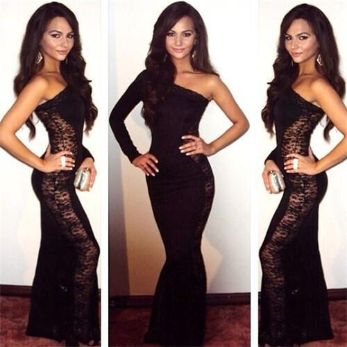 1 x women dress women sexy evening dress lace one shoulder long sleeve christmas party