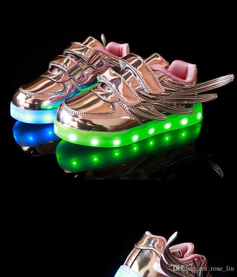 Kids LED Wing Sneakers shoes Boys Girls Stylish LED Light Luminous Children Sports Athletic Shoes New Style