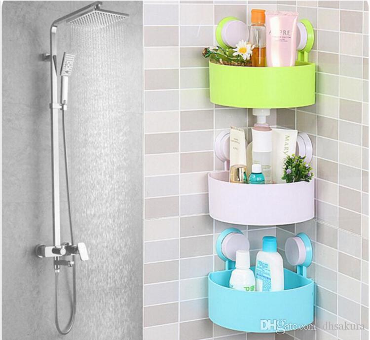 Bathroom Storage Racks Triangle Strong Chuck Commodity Shelves Shower Room  Corner Bracket Multifunction Traceless Wall Mounted Home Storage