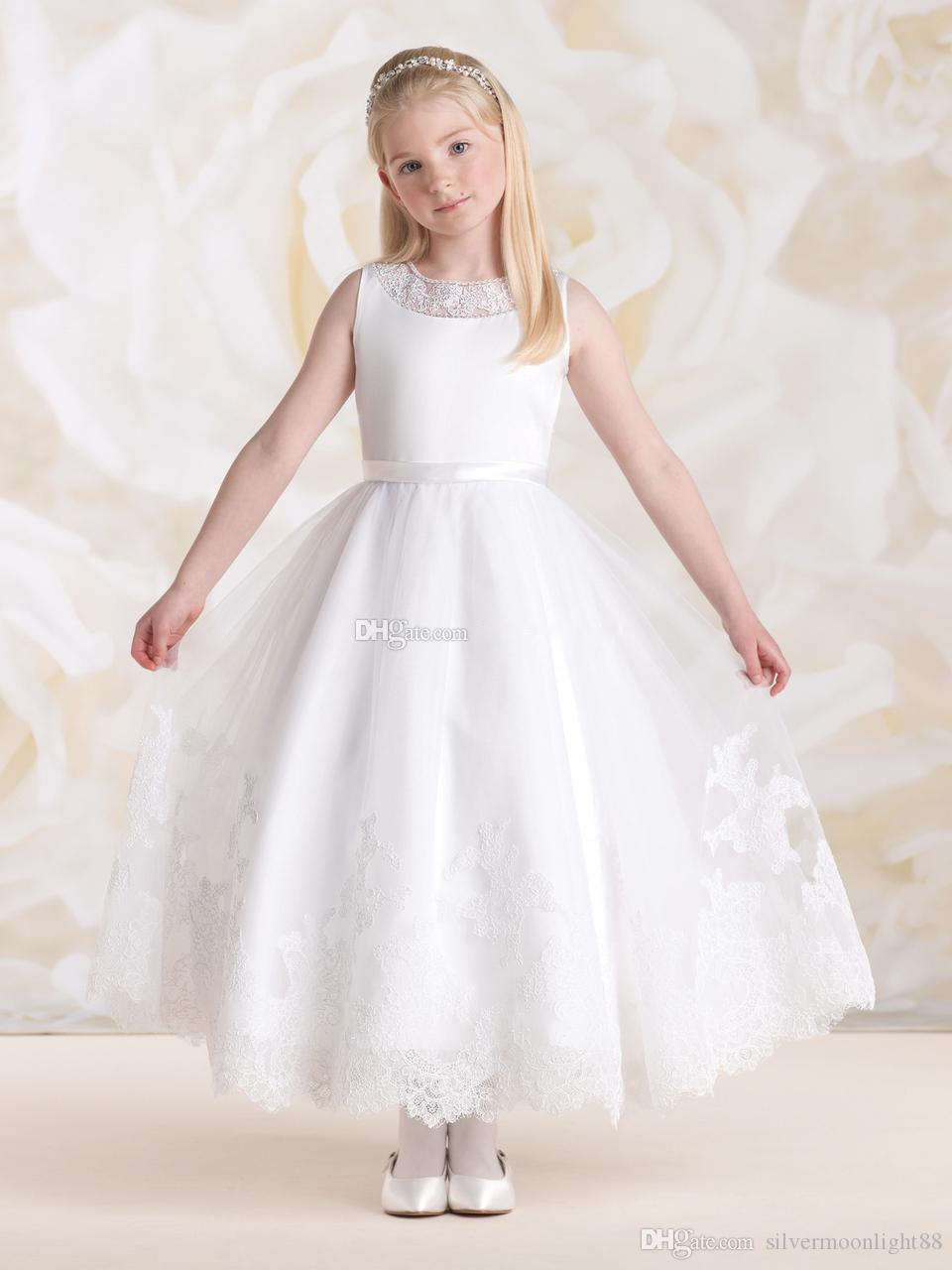 First Communicate A Line Jewel Ankle Length White Organza Appliques Flower Pageant Dress For Wedding Hot Sale Junior Bridesmaid Gowns