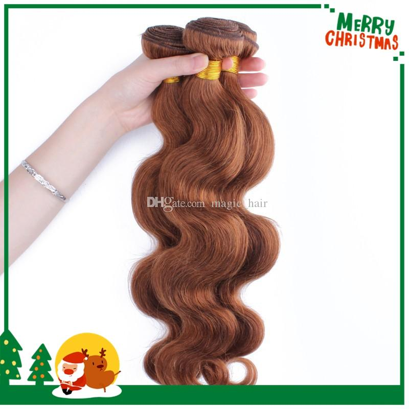 8A Unprocessed Peruvian Body Wave Virgin Hair Medium Auburn #30 Human Hair Extensions Sexy Dark Brown Hair Weaving Weft Bundles